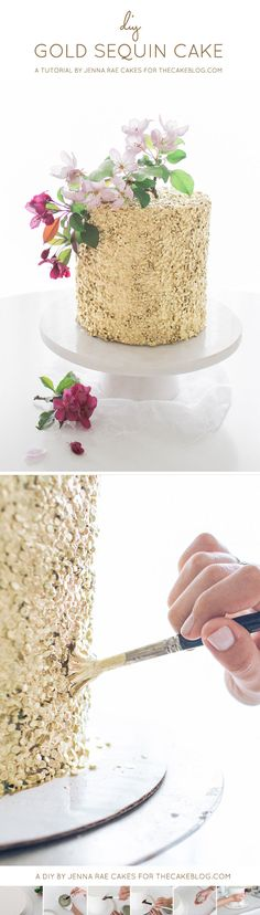 How To Make A Gold Sequin Cake | Metallic Sequin Cake Tutorial | by Jenna Rae Cakes For TheCakeBlog.com | This Looks Too Pretty To Eat!