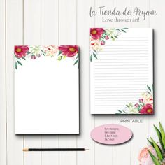 Stationery, Writing Paper Printables, Letter paper, 5x7 notepad,  Card Paper, Floral  letter paper, Printable Letters, Gift Tags Printable, Printable Paper, Money Chart, Floral Letters, Watercolor Artwork, Dad Birthday, Writing Paper, Colored Paper