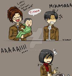 Y Mikasa se dio cuenta de que si iba a engañar a Levi no le convenia estar con ERen