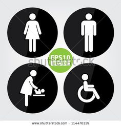 bathroom sign vector. Black Circle Toilet Sign With Background, Man Sign, Women Baby Changing Handicap - Vector Buy This Stock On Bathroom