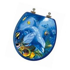 Ocean Series Dolphin Mother and Calf Round Toilet Seat Climbing Gloves, Oceans Series, Dolphins, Calves, Toilet, Coin Purse, 3d, Baby Cows, Flush Toilet