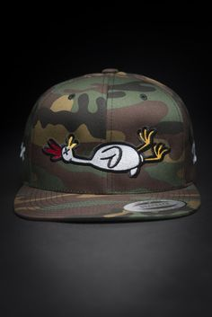 18cfc11b32a67 Dead Rubber Chicken Camo Snapback Hat by Devious Elements Apparel