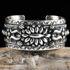 "Darryl Becenti ""Antique Repousse"" Sterling Silver Cuff Bracelet"