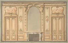 245 Design for wall panels, mirror, and fire mantle century, Louis XV/XVI) French Interior, Classic Interior, Ceiling Design, Wall Design, French Rococo, Baroque, Wall Molding, Moulding, Home Ceiling
