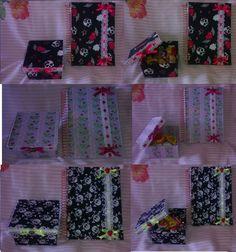 Caixas em MDF e cadernos revestidos com tecido e apliques de passa fita e botões...excelente presente pra garotada.
