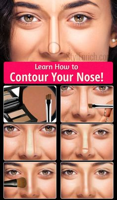 Learn how to contour your nose - makeup . - Learn how to contour your nose – makeup secrets Makeup Contouring, Contouring And Highlighting, Makeup Brushes, Strobing, How To Blend Contouring, Contouring Guide, Makeup Blending, Highlighter Makeup, Beauty Make-up