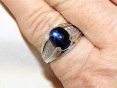 Unique Estate Vintage Blue Cabochon Natural Quartz 925 Sterling Silver Ring 8.75 #Band