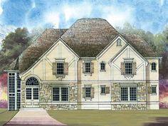 Home Plans HOMEPW00087 - 2,583 Square Feet, 4 Bedroom 3 Bathroom Tudor Home with 2 Garage Bays