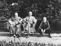 A rare picture of Churchill, Truman, and Stalin