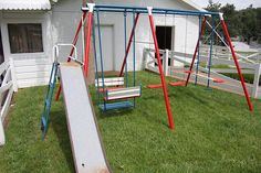 Remember these metal swing sets. I remember me & a friend used to set in the double swinger, trying to swing it up high. Retro Vintage, Vintage Toys, Vintage Metal, My Childhood Memories, Great Memories, School Memories, Metal Swing Sets, Nostalgia, Ol Days