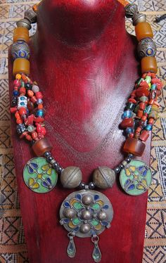 Moroccan Berber Necklace with Colorful various Beads More Info: https://www.etsy.com/listing/285506711/moroccan-berber-necklace-with-colorful BY INEKE HEMMINGA
