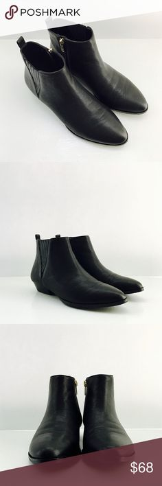 ✨New Item✨ Black Ankle Boots with almond toe Ivanka Trump Black Ankle Boots with almond toe front, pebbled leather and cute leather design on ankles. Gold hardware found in zippers on inner foot and back. Ivanka Trump logo is also gold embellishment. Material: leather upper. Ivanka Trump Shoes Ankle Boots & Booties