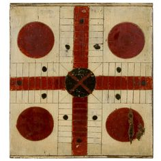 Crimson Red & Black Vintage Parcheesi Game Board on an Oyster White Background