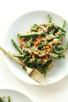 Vegan Green Bean Casserole. Tweaked this recipe with artichokes instead of mushrooms and added some slivered almonds..delicious