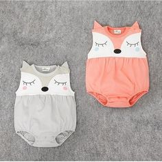 Fashion Baby Girls Rompers Cartoon Fox Rompers Sleeveless Summer Baby Clothing Infant Rompers