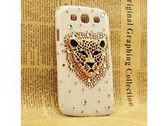 3D Leopard Rhinestone Samsung Galaxy S3 White Case