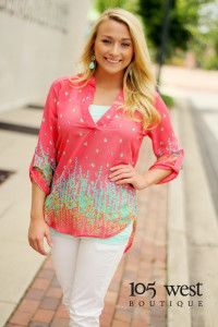 """The """"Margaret"""" Floral Blouse in Coral.  $28.99.  S, M, L.  ~ 105 West Boutique located in Abbeville, SC.  (864) 366-WEST.  Shipping $5.  Look for us on Instagram and Facebook!"""