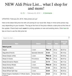 Check out the latest Aldi price list with unit pricing. I shop at Aldi twice a month. Aldi Prices, Aldi Shopping, Price List, Cheap Meals, Keep In Mind, The Unit, Dinner, Inexpensive Meals, Food Dinners