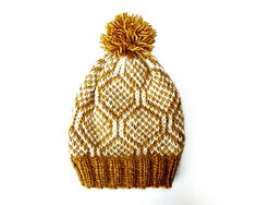 """Made using the famous Alafoss Lopi yarn from Iceland, Calista is a slouchy style hat which measures approximately 26cm (10"""") from brim to crown. You will need to be able to knit in the round using the 'stranded' knitting technique."""