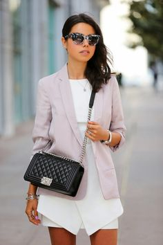 VIVALUXURY - FASHION BLOG BY ANNABELLE FLEUR: LIVE IN LAVENDER - SCHUTZ SLATE SANDALS & CHANEL BOY BAG ASOS blazer in luxe fabric | Schutz Slate sandals | Chanel Boy flap bag | ASOS flat top cat eye sunglasses { also obsessed with this version} | Keepsake The Label Stubborn Love dress { similar option here } | BCBG watch | SCRABBLE initial A necklace | Essie nail polish in Play Date April 28, 2014