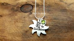 You Are My Sunshine Hand Stamped Necklace Sun by JazzieJsJewelry