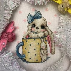 "Finished work by pattern ""Bunny in a cup"" Cross Stitch Designs, Cross Stitch Patterns, Etsy Embroidery, Embroidery Techniques, Basic Colors, Cross Stitching, Sewing Ideas, Bunnies, Needlework"