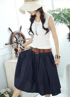 looooooooove the navy skirt and brown belt