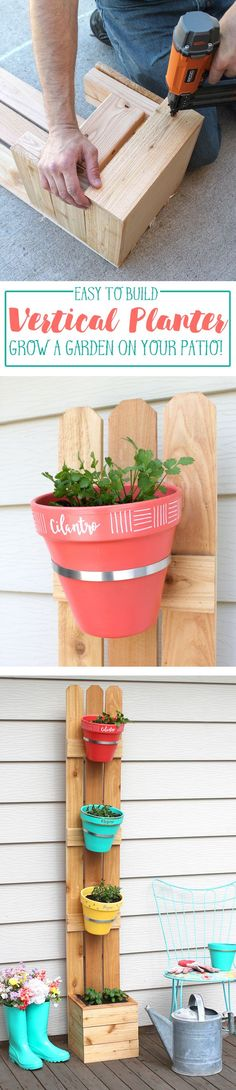 Make this adorable vertical planter perfect for growing flowers or herbs on the patio or porch. No space, no problem! A quick build and an easy DIY gardening project!