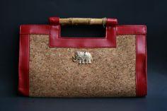 Red cork clutch, Elephant brooch
