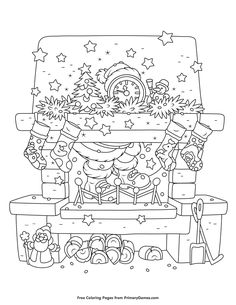 Christmas Coloring Page Chimney Printable PagesFree