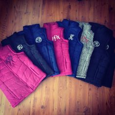 Puffer vest with your choice of monogram style and color. Please include in notes section when checking out! They run a size to big so we