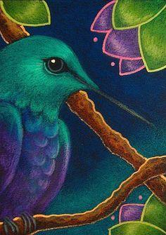 Art: VIOLET BELLIED HUMMINGBIRD IN MY GARDEN by Artist Cyra R. Cancel