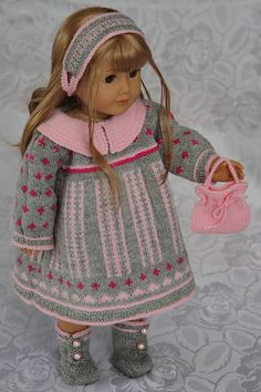 """doll-knitting-patterns.com  Lots of patterns for beautiful knit clothes for 18"""" dolls at this site."""