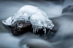icy - ice cluster in the middle of a small creek