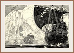 1915 ca Three ships Illustration by Franklin Booth (carlylehold) by carlylehold (flickr) Tags: franklin booth pen ink drawing illustration picture haefner carlylehold 1915 robertchaefner robert c b