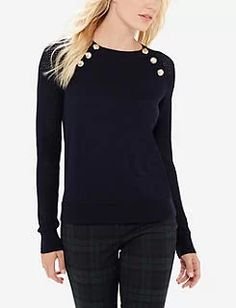 Buttoned Open Stitch Sleeve Sweater