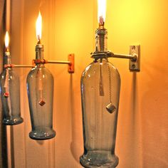 Blue Wine Bottle Oil Lamp - INDOOR - Modern Lighting - Hurricane Lantern - Set of 2 - Wall Light