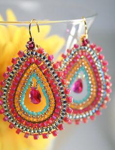BINDU Earrings - Exotic Tear inside Teardrop - Gypsie beaded woven Earrings @createdbycarla #createdbycarla