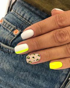 Nails Yellow, Yellow Nails Design, Neon Nails, Swag Nails, Neon Nail Art, White Nail Art, Cheetah Nails, Bright Nails, Metallic Nails