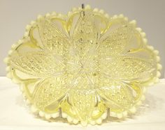 DAVIDSON~WILLIAM & MARY~RD:413701~YELLOW~VASELINE~URANIUM~GLASS~BOWL~DISH~No.3 (3 FOR SALE) Vaseline, Glass Art, Mary, Pottery, Ceiling Lights, Dishes, Yellow, Ceramica, Petroleum Jelly