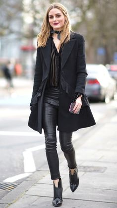Olivia Palermo in a black top, jacket, leather pants and booties - click through for more spring outfit ideas