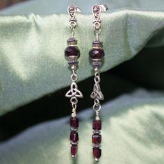 Celtic Garnet Dangle Earrings. on Etsy, $28.00 CAD