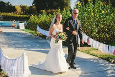 Backyard Wedding in Los Gatos, California - Walk Down Asile with Dad - Sarah Maren Photography