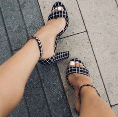 73d19e241fb Black and White Plaid Chunky Heels Peep Toe Ankle Strap Sandals for Music  festival