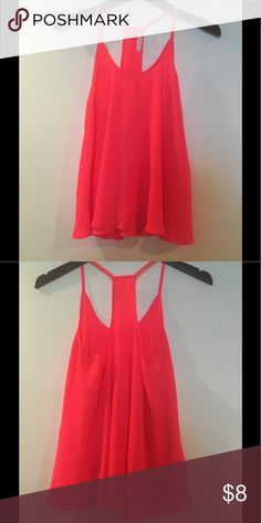 Lush Bright Pink Tank Top Lush Bright pink/Coral tank top with t style Back. Size XSmall. Great condition. Lush Tops Tank Tops