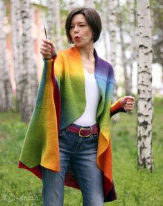 Rainbow Hand Knit oversized Sweater coat for Women by ToBeStudio