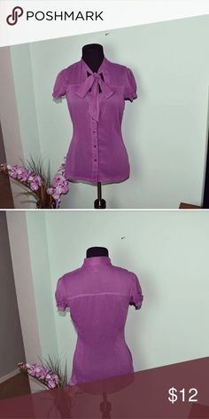 Beautiful Purple Neck Bow Detail Blouse Super Cute and comfortable! Tops Blouses
