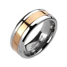 A beautiful modern two-tone mirror polished titanium ring with a lovely ion plated rose gold center band for contrast.  Wholesale Titanium Rings & Wedding Bands. www.925express.com