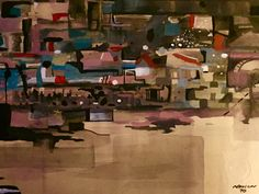 """Robert Lyn Nelson  Age 15 """"abstract city""""  Watercolor,Childhood Art 1970  @robertlynnelson.com"""