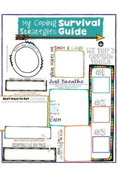 "School Counseling Lesson, Posters, Art & Sorting Activities Coping Skills for Kids! A fun coping strategies ""survival guide"" worksheet.Coping Skills for Kids! A fun coping strategies ""survival guide"" worksheet. Kids Coping Skills, Coping Skills Activities, Counseling Activities, Art Therapy Activities, Sorting Activities, Grief Activities, Therapy Ideas, Therapy Tools, Anger Management Activities For Kids"